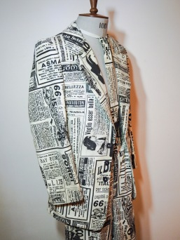 Newspaper Print Suit for The Inevitable Disappearance of Edward J. Neverwhere - Infinity Theatre Production